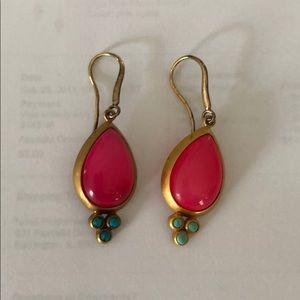 Eddera Brand Olga Pink Agate Earrings